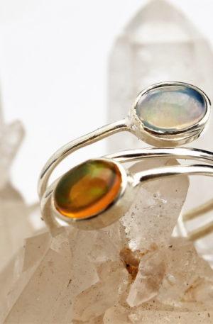 bague argebnt opale