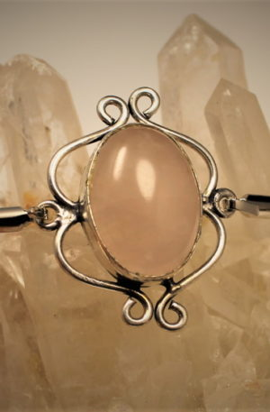bracelet en quartz rose véritable