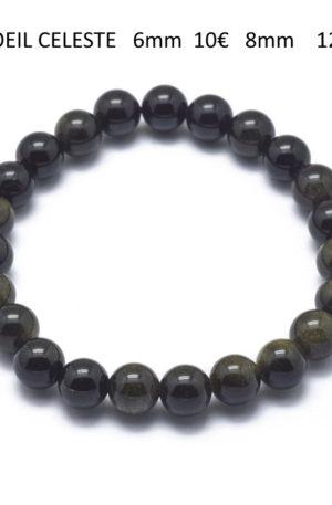Bracelet œil céleste- bijoux en pierre fine véritable -obsidienne