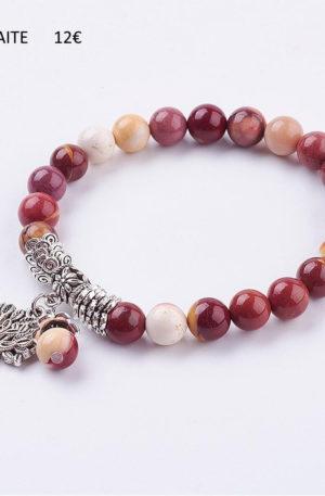 Bracelet jaspe mokaïte - bijoux en pierre fine véritable - arbre de vie