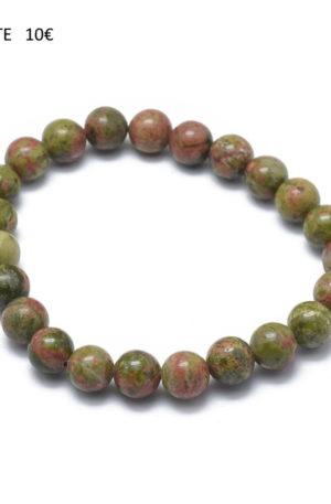Bracelet unakite- bijoux en pierre fine véritable -8mm