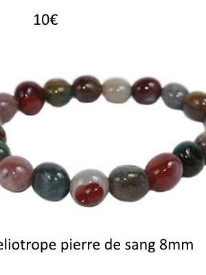 Bracelet pierre de sang- bijoux en pierre fine véritable -8mm -héliotrope