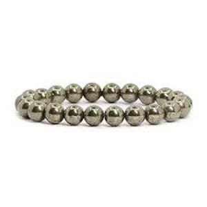 Bracelet en pyrite- bijoux en pierre fine véritable - 8mm